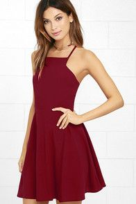 Prepare to sweep all your sweethearts off their feet with the Call to Charms Wine Red Skater Dress! Sleek woven poly shapes an apron neckline and seamed bodice atop a flaring skater skirt. Skinny straps meet with a racerback for a chic finishing touch. Hidden back zipper/hook clasp.
