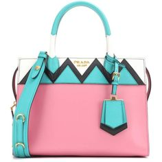Prada Esplanade Zigzag Leather Tote (389015 ALL) via Polyvore featuring bags, handbags, tote bags, prada, pink, handbags totes, pink tote, leather tote purse, prada tote bag and prada purses