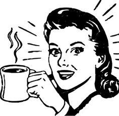 Retro Women vector, drinks coffee - Vintage and Retro Vector