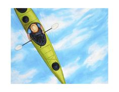 Items similar to Paddler in green kayak in blue sky/water - (print on Etsy G Gallery, Water Printing, Hologram, Kayaking, In This Moment, Authenticity, Green, Artist, Anime