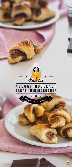 Diese Mini Nougat Hörnchen sind die besten zum Frühstück oder Snack zum Kaffee! Mit Frischkäse im Teig sind diese Mini Nougat Hörnchen auch als Rugelach bekannt. Einfach super zart und lecker!   BackIna.de