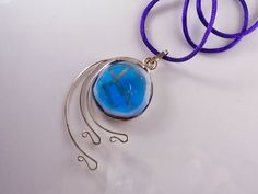 """Ciondolo vetro turchese argento 925 pendente di LaTerraCanta 21, 22, 23 February. Coupon code """"ONLYBLUE"""" -30% OVER $ 25. YOU WILL FIND ONLY ITEMS BLUE WITH A GREAT DISCOUNT! WAITING FOR YOU!"""