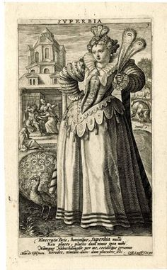 Superbia, WL, standing, holding peacock feathers in her left hand; at her feet on the right a peacock; number one from a set of seven numbered plates; each with caption upper margin centre or upper right of centre; each with four lines Latin in lower mar Christian Mysticism, 7 Sins, Demonology, Vanitas, Peacock Feathers, Seven Deadly Sins, Ancient Greece, British Museum, Witchcraft