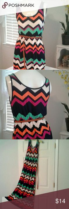 "Colorful stretch knit belted summer maxi sz S Kii by Items In Your Closet   Bold colorful chevron stripe. Very good used condition, braided brown belt is like new. Cinched elastic at belt line. Total length 56""  navy, white, orange, green & fushia. Great everyday lounge dress. Kii  Dresses Maxi"