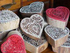 Heart wooden printing blocks