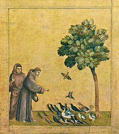 Saint François prêchant aux oiseaux, partie inférieure du tableau d'autel Saint François d'Assise recevant les stigmates, conservé au Louvre. © RMN - Grand Palais -Michel Urtado