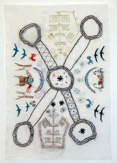 Jan Johnson - Chart of you, me, the baby, the guest and god Silk and cotton thread on cotton 2009 x Thread Art, Needle And Thread, Contemporary Embroidery, Applique Quilts, Embroidery Art, Textile Art, Hand Stitching, Fiber Art, Needlework