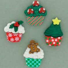 NEW for HOLIDAY! Christmas cupcakes, are you kidding me? These are just too awesome 7474 christmas cupcakes Christmas Cupcakes, Button Dress, Embellishments, Handmade Gifts, Holiday, Cards, Dresses, Jesse James, Awesome