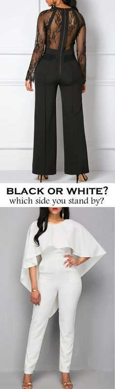 Black lace jumpsuit, white cape jumpsuit, two colors, two styles, which one do you want?