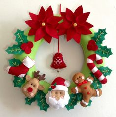 ideas for sewing christmas decorations diy ideas Felt Christmas Decorations, Xmas Wreaths, Felt Christmas Ornaments, Christmas Makes, Christmas Time, Christmas Projects, Holiday Crafts, Theme Noel, Christmas Sewing