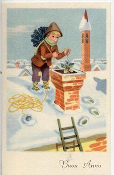 Bambino Spazzacamino su Tetto Innevato Natale Chimney Sweep Xmas PC Circa 1930