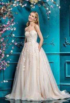 ellis bridals 2018 strapless sweetheart neckline heavily embellished bodice romantic a  line wedding dress with pockets chapel train (1) mv -- Ellis Bridals 2018 Wedding Dresses