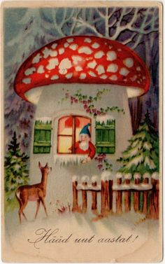 Postcard of A Gnome in A Mushroom House and deer - retro scandinavian christmas