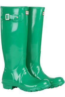 Hunter Womens Original Tall Gloss Wellington Boots Forest Green - Lyst