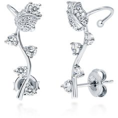 BERRICLE Sterling Silver CZ Tulip Fashion Ear Cuffs ($43) ❤ liked on Polyvore featuring jewelry, earrings, clear, ear cuffs, temporary, women's accessories, sterling silver ear cuff, cz jewelry, sparkly earrings and ear cuff earrings