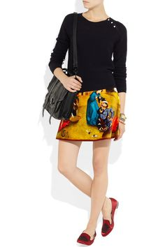 Inspired by Hieronymus Bosch's 'Garden of Earthly Delights', Carven's printed cotton-velvet skirt is a modern masterpiece with Renaissance roots. This statement design needs little embellishment, so keep the tableaux in full focus with a plain black sweater and satin slippers.  Carven|Printed cotton-velvet skirt|