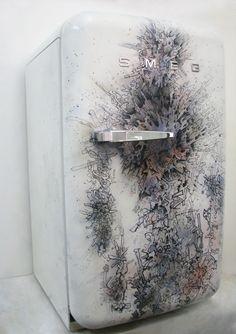 Painting on SMEG fridge Smeg Fridge, My Cup Of Tea, Funky Furniture, Kitchen Decor, Tea Cups, Artists, Painting, Design, Painting Art
