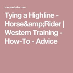 Tying a Highline - Horse&Rider | Western Training - How-To - Advice