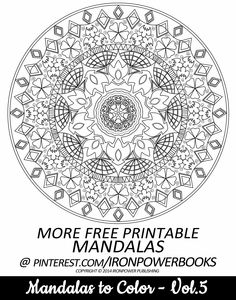 FREE Mandala Printable Coloring Pages for Adults | Pass on the FREE Coloring Page | Paperback copy with 50 Advanced Mandala Designs available at http://www.amazon.com/Mandalas-Color-Mandala-Coloring-Adults/dp/149733716X | It will be awesome to share your colored works with us! Follow @ironpowerbooks for more free Coloring Pages everyday!!  | Please use freely for personal non-commercial use