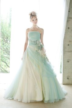 Top 40 Breathtaking Water Color Wedding Dress for Summer View these top 40 water color wedding dresses for summer weddings. Shades of blush pink, dusty blue, dove grey, and light lavender stand out in an ivory sea. Look at the ideas below to find Quinceanera Dresses, Prom Dresses, Summer Dresses, Colored Wedding Dresses, Wedding Gowns, Mint Green Wedding Dress, Mint Gown, Beige Wedding, Blue Gown