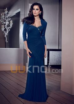 Sheath Sweetheart Floor Length Stretch Mesh Mother of the Bride Dress