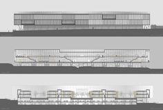 Prêmio Secil Universidades – Arquitetura: Centro Multifuncional e Residência de Estudantes  / Simão Silveira Botelho,Fachada Norte e Cortes Longitudinais