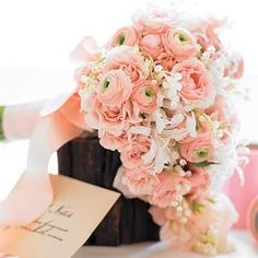 Ranunculus & Lily of the Valley Bouquet. this will be my wedding bouquet Pale Pink Bouquet, Ranunculus Wedding Bouquet, Wedding Bouquets, Wedding Flowers, Ranunculus Flowers, Cascade Bouquet, Bouquet Flowers, Bridesmaid Bouquets, Bulb Flowers