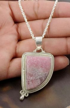 Fancy Shape Natural Rhodochrosite Cabochon 925 Sterling Silver Handmade Jewelry Party Wear Pendant With Loop by UGCHONGKONG on Etsy