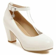 SHOWHOW Womens Sweet Pendant Round Toe Buckle Ankle Strap Chunky High Heel Pumps Shoes White 8 BM US -- To view further for this item, visit the image link.-It is an affiliate link to Amazon.