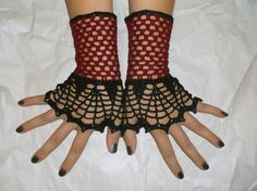 Gothic lace Fingerless gloves, handmade crochet steampunk lace wrist cuffs lace gloves