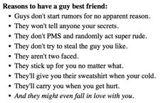 Reasons to have a guy best friend