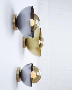 "Lightmaker Studio (@lightmakerstudio) on Instagram: ""Side view of Curve sconces in brass and steel. Just after a fresh coat of paint on the studio…"""