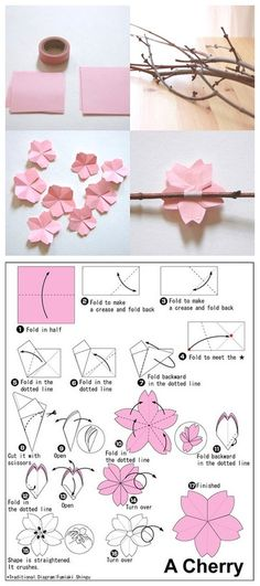 We've always wanted to build origami shapes, but it looked too hard to learn. Turns out we were wrong, we found these awesome origami shapes. Flower Crafts, Diy Flowers, Paper Flowers, Flower Diy, Flower Tree, Easy Origami Flower, Wedding Flowers, Flower Branch, Peach Flowers