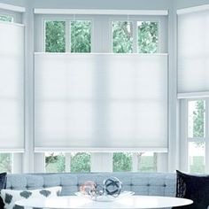 """Cordless Top Down Bottom Up Cellular Shades 5821 Ordered 18x54"""" white for bay windows"""