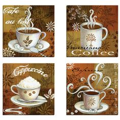 Portfolio Canvas Decor Coffee Break Americano by Elena Vladykina 4 Piece Graphic Art on Wrapped Canvas Set Coffee Cup Art, Coffee Illustration, Cafe Art, Tea Art, Coffee Design, Decoupage Paper, Painting Prints, Paintings, Graphic Art