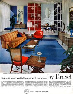 Remarkably Retro — Contemporary furniture by Drexel, 1959 Mid Century Modern Living Room, Mid Century Decor, Mid Century House, Mid Century Modern Design, Mid Century Modern Furniture, Modern House Design, Contemporary Furniture, Mcm Furniture, Vintage Furniture