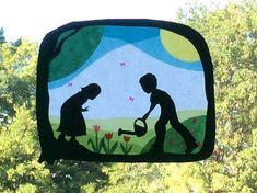 Waldorf Window Transparency Children in the Garden от LaLutine