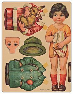 Craft-cd-of-45-Vintage-paper-dolls-papercrafts-retro-toys-parties-cards-cut-outs