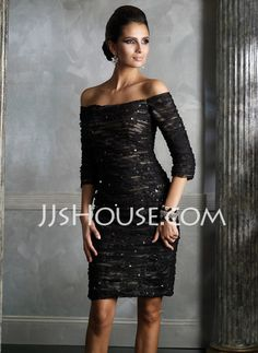 Mother of the Bride Dresses - $157.59 - Sheath Off-the-Shoulder Knee-Length Charmeuse  Lace Mother of the Bride Dresses With Ruffle  Beading (008006055) http://jjshouse.com/Sheath-Off-the-shoulder-Knee-length-Charmeuse--Lace-Mother-Of-The-Bride-Dresses-With-Ruffle--Beading-008006055-g6055