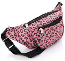 Retro 80s pink leopard print bum bag/fanny pack for women and girls