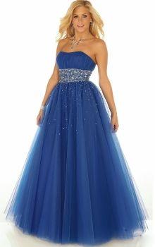 Blue Ball Gown Strapless Empire Long/Floor-length Sleeveless Sequins Tulle Zipper Up Prom Dresses Dress