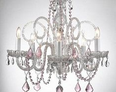 Empress Crystal (Tm) Chandelier Chandeliers Lighting with Pink Color Crystal Hearts! Swag Plug in-Chandelier w/ Feet of Hanging Chain and Wire! Perfect for Kid's and Girls Bedroom! Plug In Chandelier, Crystal Chandelier Lighting, Chandelier Shades, Crystal Pendant, Crystal Lamps, Crystal Lights, Chandelier Makeover, Hanging Lamps, Black Chandelier