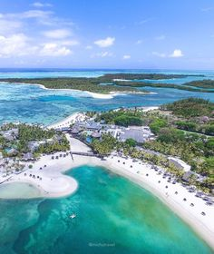 Shangri-La's Le Touessrok Resort & Spa, Mauritius. This photo was taken with a drone above the Shangri-La's Le Touessrok Resort you can also see the famous island of Ile Aux Cerfs and the resort's private island at the back! It's only a 10 mins boat ride to visit these wonderful islands off the coast of East Mauritius. Photo by michutravel via Instagram #amitrips #travel #mauritius #beaches