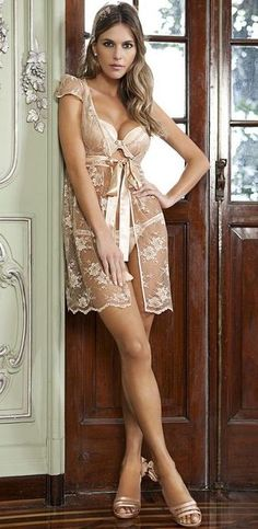Sheer Nude Lingerie - Plunge Push-up Bra & Sexy Classy See Through Negligee...I need this right now!