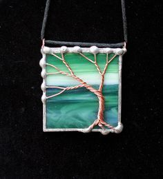 Twisted wire tree and stained glass pendant by StoneClover on Etsy