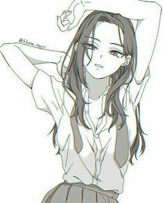 Momo Yaoyorozu / Creati (My Hero Academia) Chica Anime Manga, Manga Girl, Anime Art Girl, Kawaii Anime, Anime Girls, Anime Drawings Sketches, Anime Sketch, Anime Poses Reference, Aesthetic Anime
