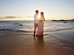 Gwen and Julien from France sharing their love on a Maui beach at sunset. View more images at: http://mauiislandportraits.com/romantic-couples-photography-maui/