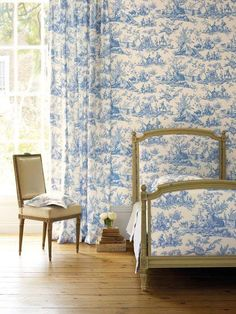 Blue toile simply timeless classic and timeless!  So Chic even in a modern home...guest room or cute girls bedroom.