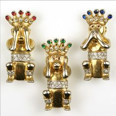 TRIFARI 'Alfred Philippe' 'Three Wise Monkeys' Pins