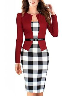 Cheap wear to work, Buy Quality sheath dress directly from China business  dress Suppliers: 2017 Women Summer Elegant Belted Tartan Lace Patchwork  Tunic Wear ...